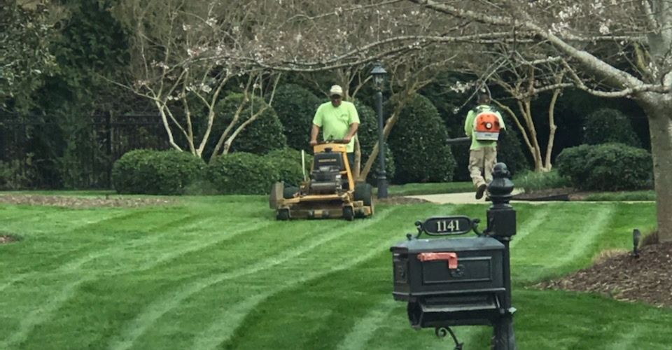 An ECM employee on a commercial mower mowing a lawn while the other employee is blowing off the grass clippings.