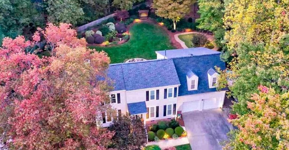 Drone shot of an estate in North Raleigh, NC with extensive landscaping.
