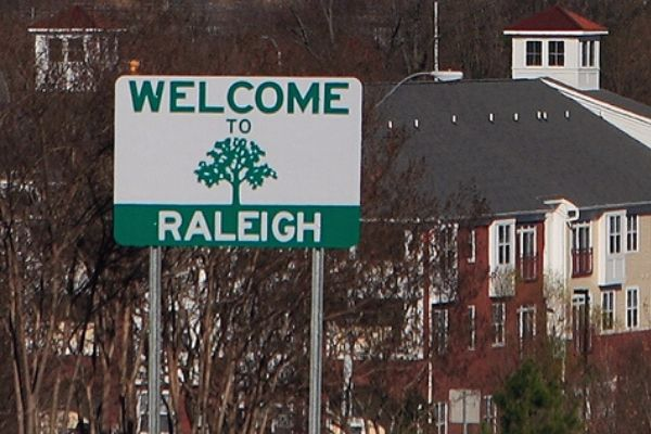 Welcome to Raleigh street sign.