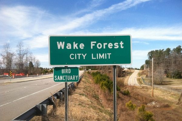 Wake Forest city limit street sign.